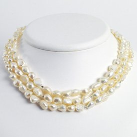 Sterling Silver White Freshwater Cultured Pearl Necklace - QH2450-16