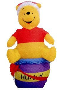 Airblown Inflatable 4 Ft Pooh On A Honey Pot front-972424