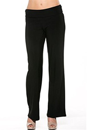Azules Women'S Poly Span Palazzo Solid Color Comfy Casual to Office Straight Pants
