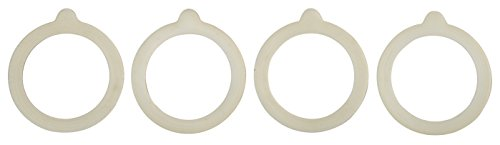 HIC Silicone Replacement Gasket Seals, Fits Standard sized-Mouth Canning Jars, 3.75 x 3.75-Inches, Set of 4 (Rubber Seal For Canister compare prices)