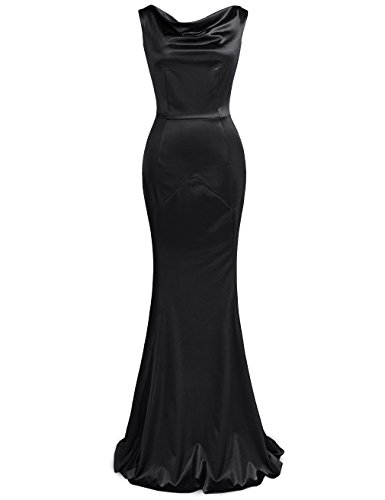 JUESE Women's Floor Length Sleeveless Evening Party Gown(L, Black)