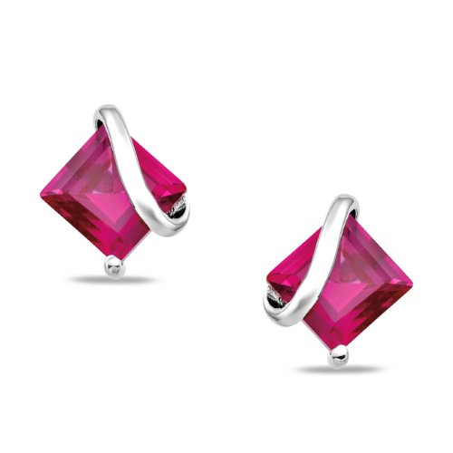 Sterling Silver 2 1/3 CT TGW Square Created Ruby Ear Pin Stud Earrings