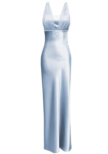 Satin Chiffon Holiday Bridesmaid Long Formal Gown Crystals Junior Plus Blue Small