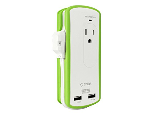 Cellet Compact 2 Outlet Surge Protector + 2.1A Dual Usb Port Travel Charger