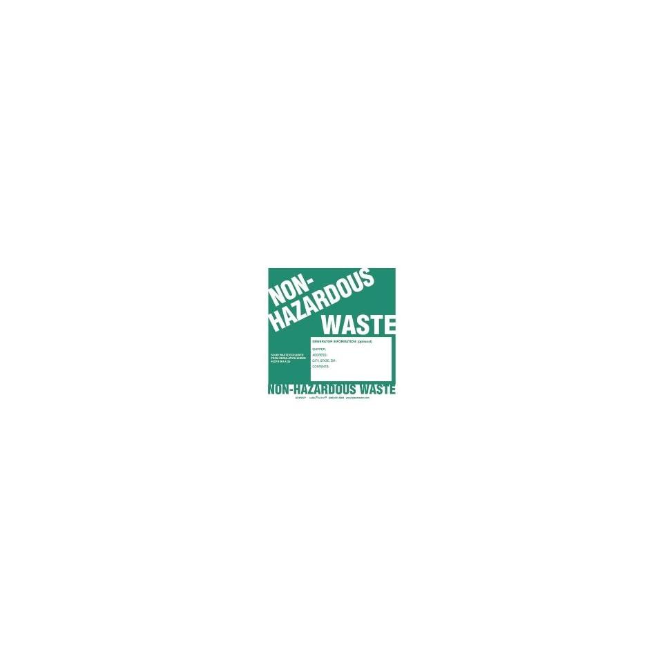 Non Hazardous Waste Label, Generator Info No Lines, Stock Paper