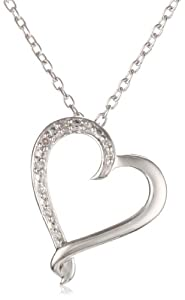 """Women's Sterling Silver """"Kissing Heart"""" Diamond Pendant Necklace (0.03 cttw, I-J Color, I2 Clarity), 18"""" by Amazon Curated Collection"""