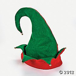Set of 3 Felt ELF HATS with JINGLE Bells/Great for SANTA'S HELPERS/OFFICE PARTY/Photo OP/HOLIDAY & CHRISTMAS/Adult S/M