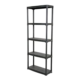4 5 tier black plastic shelving unit storage garage. Black Bedroom Furniture Sets. Home Design Ideas