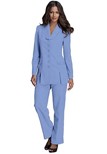Roamans Women's Plus Size 10-Button Pantsuit French Blue,22 W