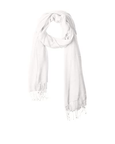 Portolano Women's Scarf with Twisted Fringe, Snow White