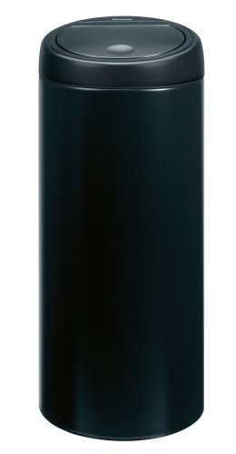 Brabantia Touch Bin with Plastic Bucket, 30 Litre, Matt Black with Black Lid