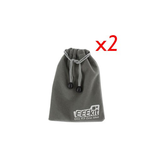 Eeekit Bundles 2Pcs Eeekit Multipurpose Grey Velvet Pouch (With Drawstring For Storing Car Charger, Travel Charger, Bluetooth Speaker, Earphone, Pdas And Car Kits)