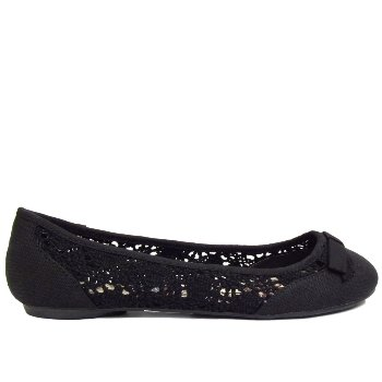 Ladies Black Crochet Ballerina Summer Slip-On