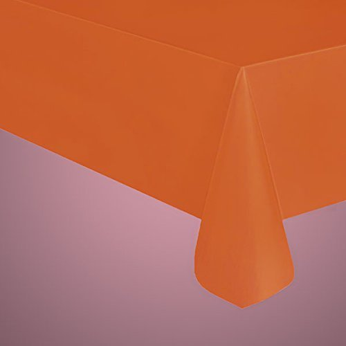 """EXTRA DURABLE REUSABLE Heavy Plastic Table Covers 54"""" x 108"""" (2, Orange) by Party Expo"""