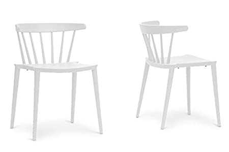 Finchum White Plastic Stackable Modern Dining Chair with Chanasya Polish Cloth Bundle (Set of Two)