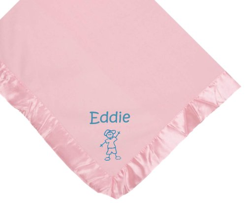 Stick Boy Pink Soft Fleece Embroidered Personalized Baby Blanket - Custom Embroidery Navy Thread front-1023238