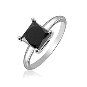 Click to buy Natural Treated Black Princess Cut Diamond Solitaire Ring in 14K White Gold from Amazon!