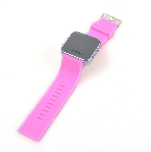 Bestdealusa Unisex Pink Band Mirror Led Digital Date Jelly Silicon Casual Sport Wrist Watch