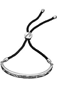 Guess CZ Set SS Black Cord Cuff Bracelet
