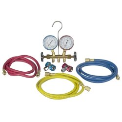 New - R134 Brass Manifold And Hose Set By Robinair