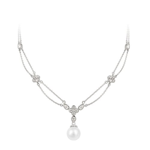 Sterling Silver Simulated Pearl and Cubic Zirconia Flower Stations Necklace, 18