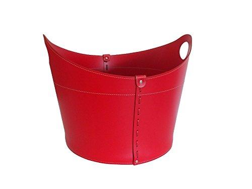 CADIN: borsa in cuoio portalegna e/o pellet, in cuoio rigenerato colore Rosso, con ruote gommate.