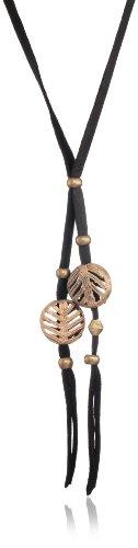 Vanessa Mooney Ayasha Woven Bead Black Leather Necklace