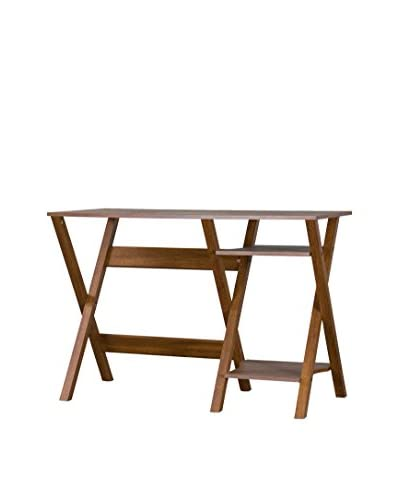 Baxton Studio Crossroads Writing Desk, Dark Brown As You See
