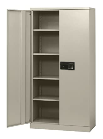"Sandusky Lee KDE7236-07 Putty Steel SnapIt Storage Cabinet, Keyless Electronic Lock, 4 Adjustable Shelves, 72"" Height x 36"" Width x 18"" Depth"