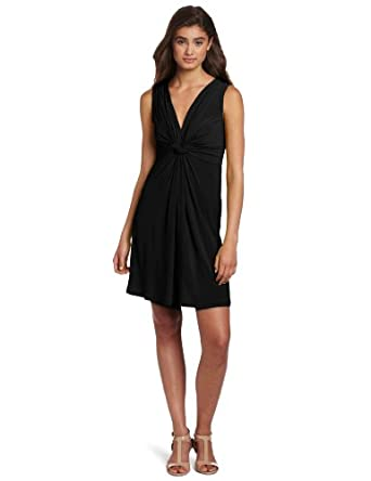 Wrapper Juniors Sleeveless V-Neck Dress, Black, Medium/8