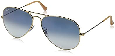 Ray-Ban Men's Aviator Large Metal Aviator Sunglasses, Arista & Crystal Gradient Light Blue, 58 mm