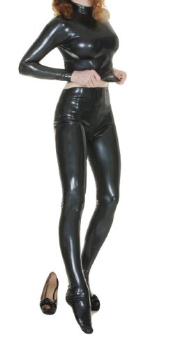BlackSunnyDay Women's Latex No Hood And Gloves Two-Piece Catsuit