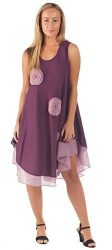 100% Cotton Dress 4 Colours Bohemian Hippie Gypsy Midi Boho Hobo Ladies Dress By Degaro NANDR177 (Purple)