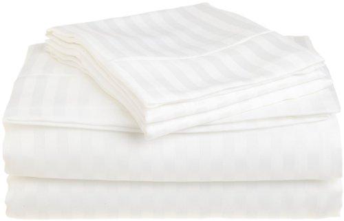 Stripes White 300 Thread Count Twin Extra Long size Sheet Set 100 % Egyptian Cotton