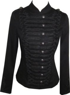 Victorian Black Gothic Military SteamPunk Indie Jacket Coat XS 8