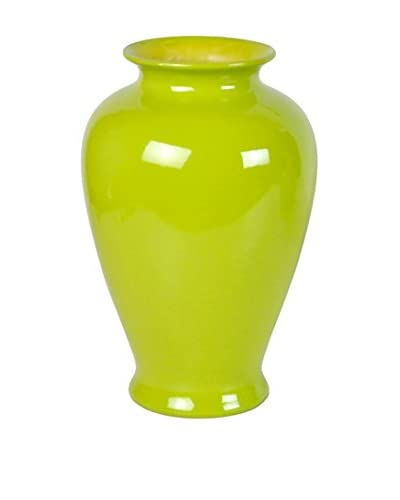 Three Hands Tall Ceramic Vase, Green