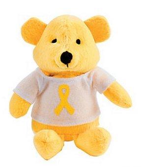 12 Plush Yellow Awareness Ribbon Bears front-896492
