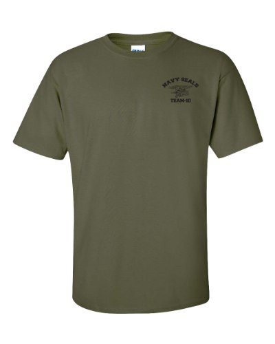 Jacted Up Tees Navy Seal Team-10 Front & Back Men's T-Shirt - 2XL Military Green (726) (Navy Seal Team 2 compare prices)