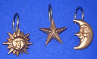 Celestial Moon Star SHOWER CURTAIN HOOK Ring Bath Decor Review