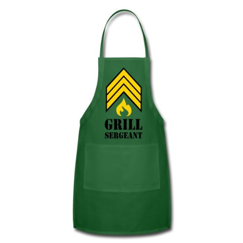 Spreadshirt Unisex Adult Grill Sergeant - BBQ Apron, Green, One Size