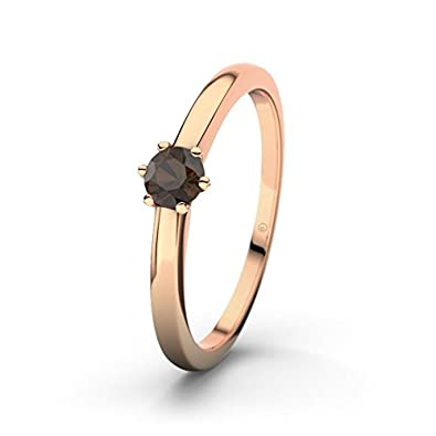 21DIAMONDS Den Haag Engagement Women's Ring Smoky Quartz 14 carat (585) Brilliant Rose Gold Engagement Ring