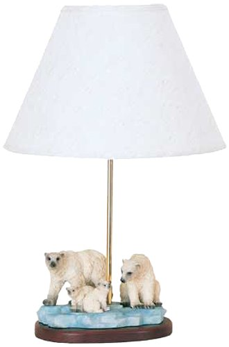 Novelty Lamp with White Fabric Shades, Polar Bear with Brass Finish