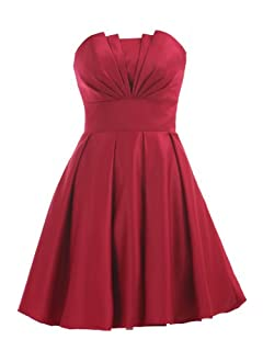 Landybridal A-line Knee Length Satin Bridesmaid Dress E22464 L Red