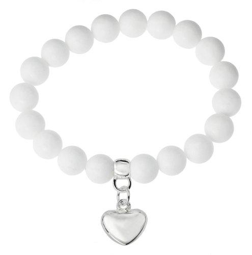 Base Metal Silver Plated Semi Precious White Jade Stretch Bead Bracelet