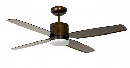 Pepeo, Ventilatore da soffitto a risparmio energetico Turno con illuminazione Led e telecomando, bronze, 132201307