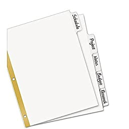 Avery Big Tab Write-On Dividers With Gold Line Reinforcing Strip for Tear Resistance at Binder Holes, 5-Tab Set, White