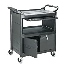 "Rubbermaid Commercial Plastic Service Cart with Cabinet and Sliding Drawer, 2 Shelves, Black, 200lbs Capacity, 37-1/4"" Height, 33-5/8"" Length X 18-5/8"" Width"