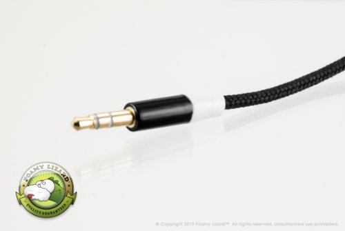 Braided Audio Cable By Foamy Lizard (Tm) 5 Foot Braided Fabric 3.5Mm Male To Male (Hand Tested) Stereo Audio Cable (Black)