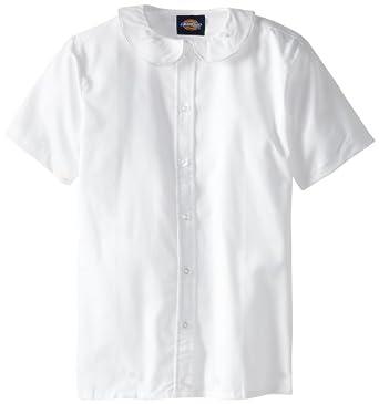Dickies Big Girls' Short Sleeve Peter Pan Collar Blouse, White, M (10/12)