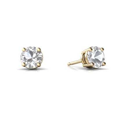Jewels For Me 14K Yellow Gold Round Genuine White Topaz Stud Earrings